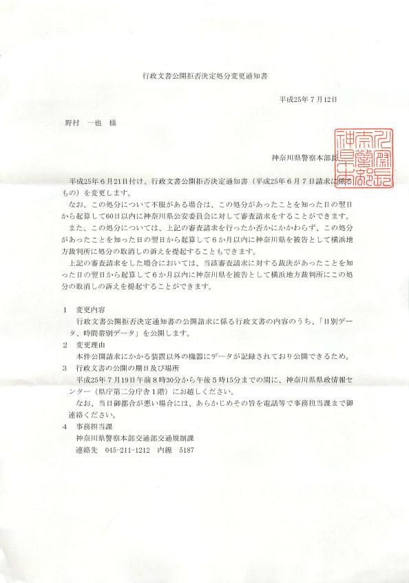 行政文書公開拒否決定処分変更通知書